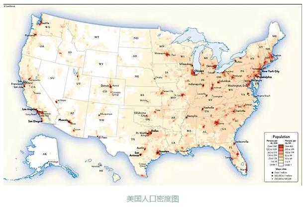 美国人口密度图-美国水电现状